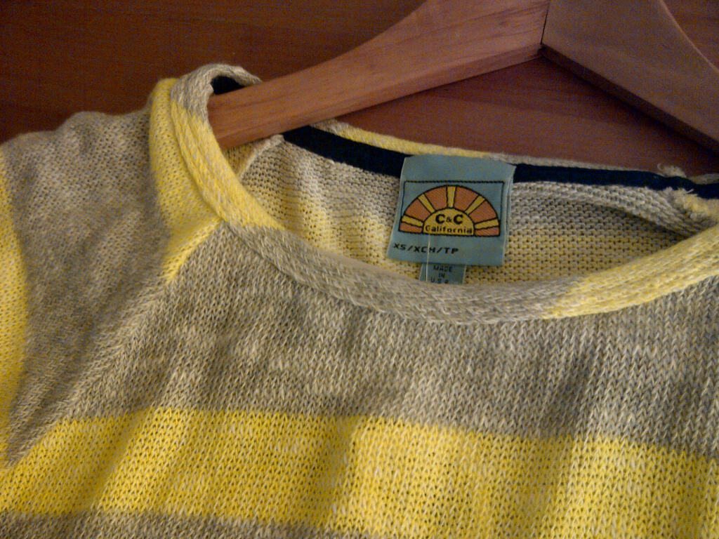 C & C California Vivid Stripe 3/4 Sleeve Loose Knit Raglan Top, Winner's (Bloor near Avenue), $39.99